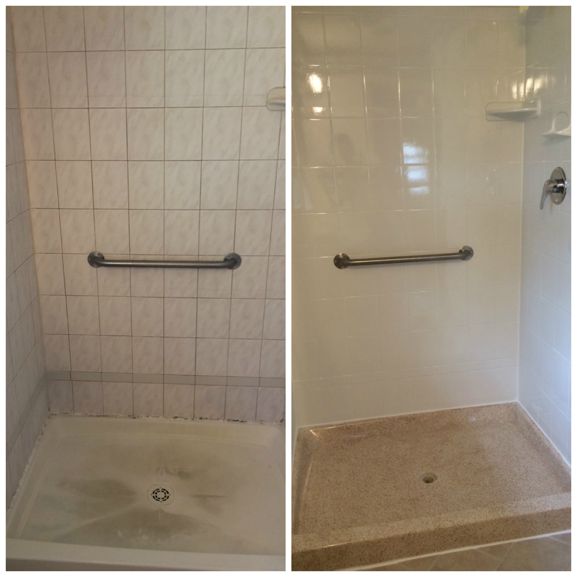 Before and after custom tub and tile resurfacing for Custom tubs and showers